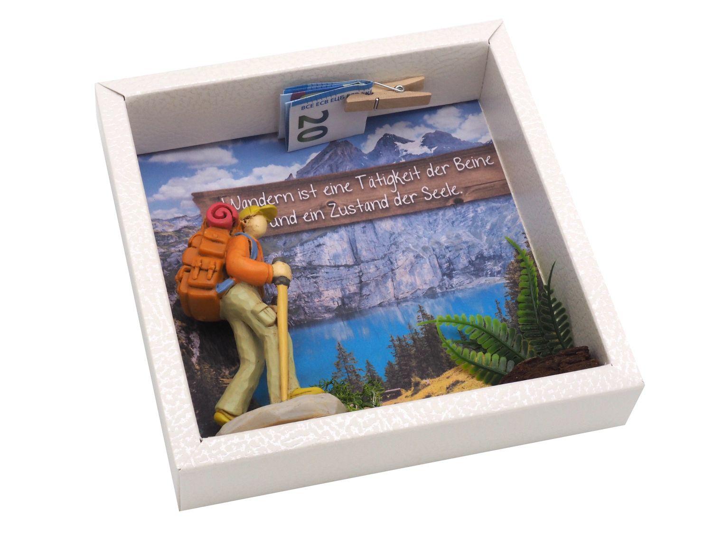 Geldgeschenk Verpackung Wanderer Urlaub Berge Geldgeschenke