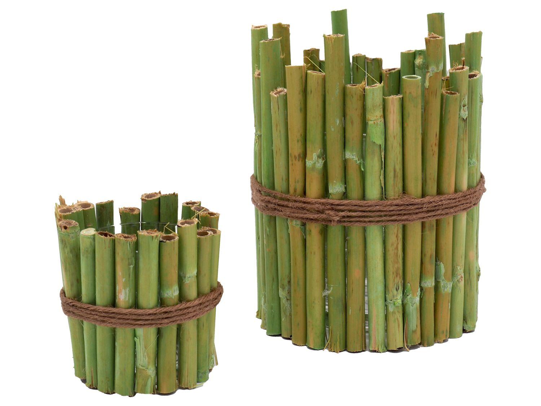 2 Stuck Kerzenglas Windlicht Bambus Grun Home Licht Feuer Flamme