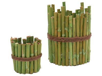 2 Stück Kerzenglas Windlicht Bambus Grün