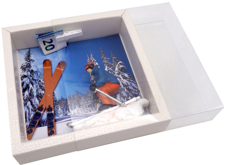 Geldgeschenk Verpackung Abfahrtslauf Ski fahren Winterurlaub Skiurlaub Berge Geschenk Skiausrüstung