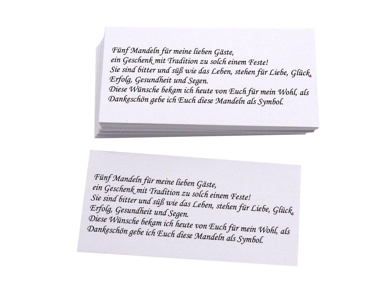 50 Kärtchen Mandelspruch Gastgeschenke Kommunion Konfirmation Taufe Mandeln