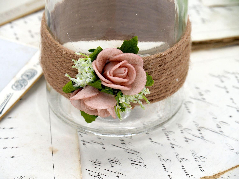 2 Vasen Hochzeit Vintage Tischdeko Deko Gläser Kordel Rosen Rosa Mellow Rose AMELIE