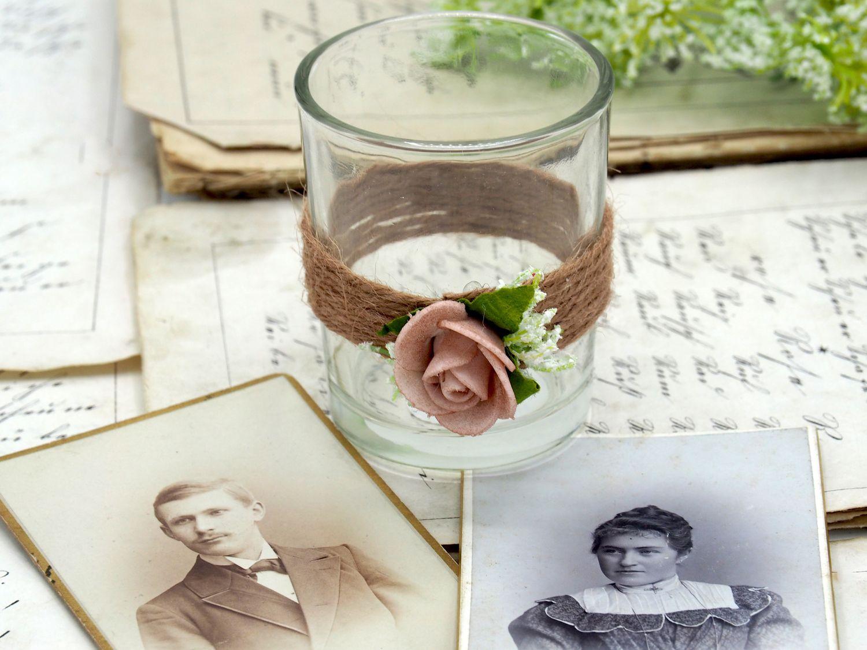 2x Teelichtglas Hochzeit Vintage Rosa Mellow Rose Glas Tischdeko AMELIE