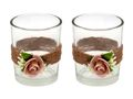 2x Teelichtglas Hochzeit Vintage Rosa Mellow Rose Glas Tischdeko AMELIE 1