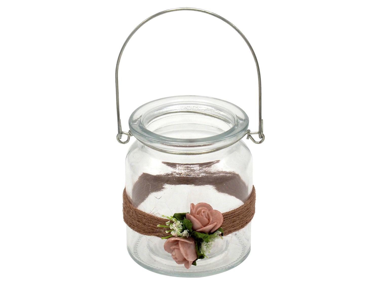 2 Windlichter mit Henkel Hochzeit Vintage Rosa Mellow Rose Kerzenglas Tischdeko AMELIE