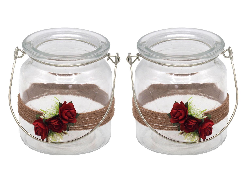 2 Windlichter mit Henkel Hochzeit Vintage Rot Rose Kerzenglas Tischdeko JILL