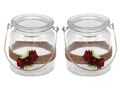 2 Windlichter mit Henkel Hochzeit Vintage Rot Rose Kerzenglas Tischdeko JILL 1