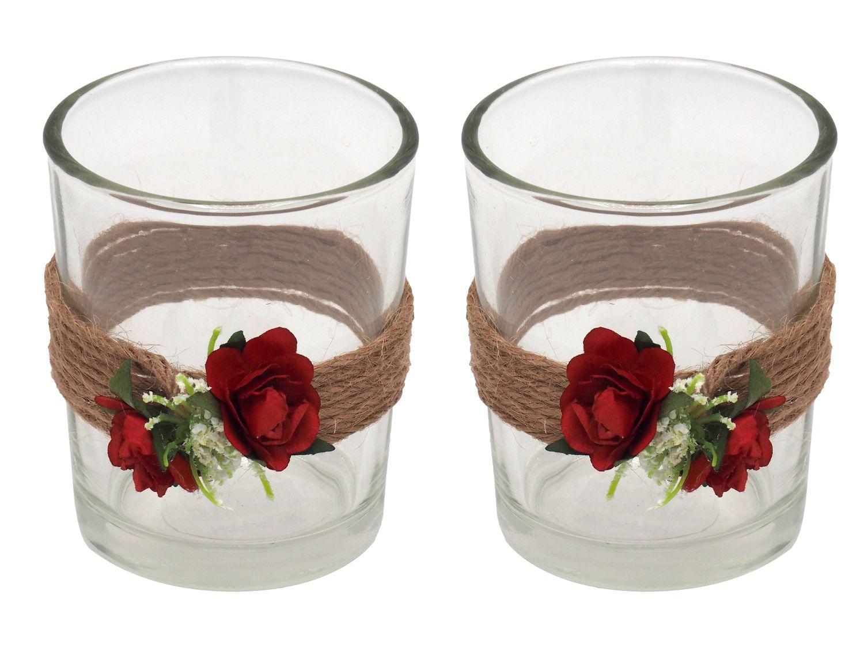 2x Teelichtglas Hochzeit Vintage Rosen Rot Tischdeko Kerzenglas JILL