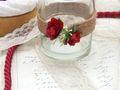 2x Teelichtglas Hochzeit Vintage Rosen Rot Tischdeko Kerzenglas JILL 4