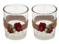 2x Teelichtglas Hochzeit Vintage Rosen Rot Tischdeko Kerzenglas JILL 1