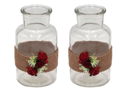 2 Vasen Hochzeit Vintage Rot Rosen JILL