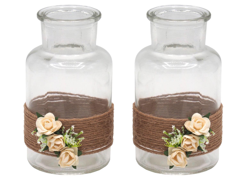 2 Vasen Hochzeit Vintage Tischdeko Deko Gläser Creme Rosen Enie