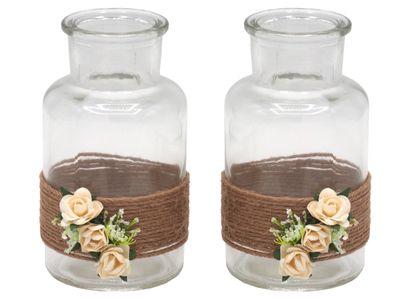 2 Vasen Hochzeit Vintage Creme Rosen ENIE