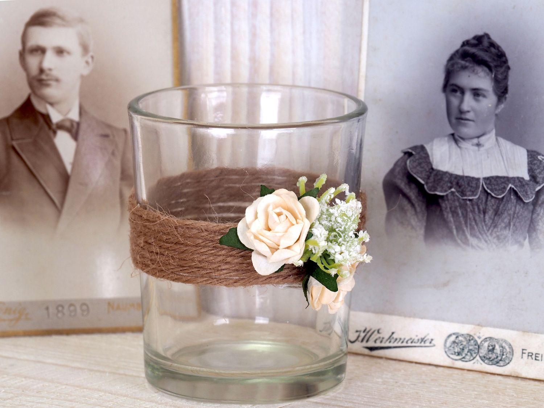 2x Teelichtglas Hochzeit Vintage Creme Rose Tischdeko Kerzenglas ENIE