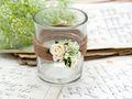 2x Teelichtglas Hochzeit Vintage Creme Rose Tischdeko Kerzenglas ENIE 2