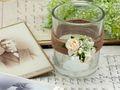 2x Teelichtglas Hochzeit Vintage Creme Rose Tischdeko Kerzenglas ENIE 3