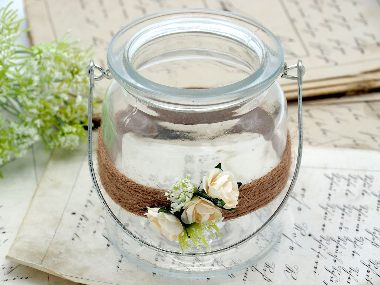 2 Windlichter mit Henkel Hochzeit Vintage Creme Rose Kerzenglas Tischdeko ENIE