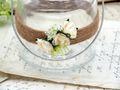 2 Windlichter mit Henkel Hochzeit Vintage Creme Rose Kerzenglas Tischdeko ENIE 3