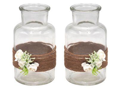 2 Vasen Hochzeit Vintage Weiß Rosen ELLA