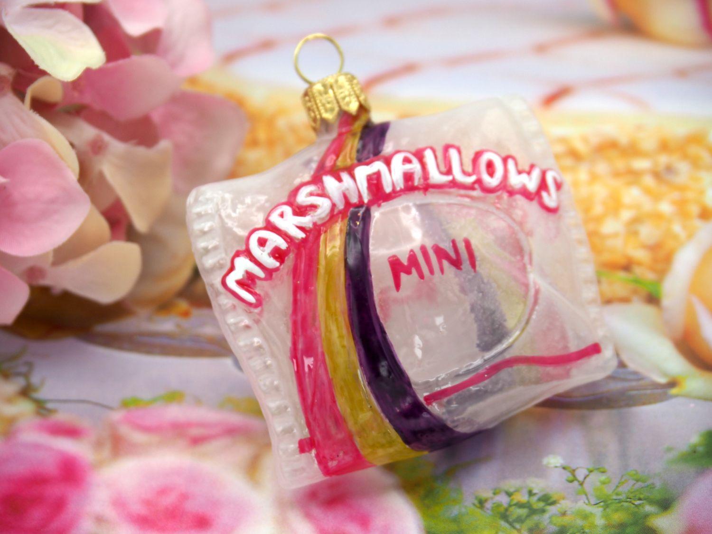 Marshmallow Beutel Glas Pink Lila Christbaumschmuck Weihnachtsbaumschmuck Christbaumanhänger Weihnachten Deko