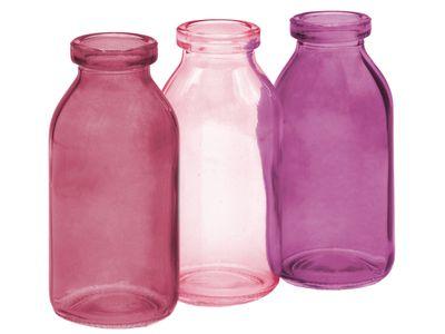 3 Vasen Rosa Mauve Pflaume Glas Tischdeko