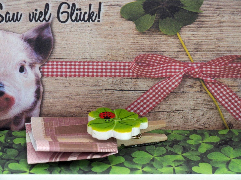 Geldgeschenk Verpackung Glücksschwein Geburtstag Glück Happy Birthday Geschenkidee Gutschein