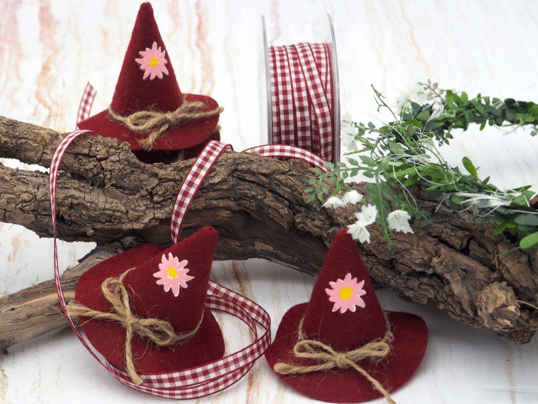 10x Filzhut Hut Deko Oktoberfest Rot Bayrisch Tischdeko Party Streudeko