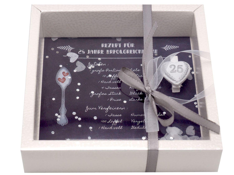 Geldgeschenk Verpackung Silberhochzeit Gutschein Geschenk Hochzeitsgeschenk Rezept 25 Jahre Ehe