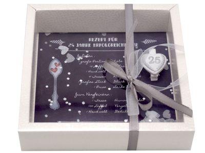 Geldgeschenk Verpackung Silberhochzeit Geschenk Rezept für 25 Jahre Ehe