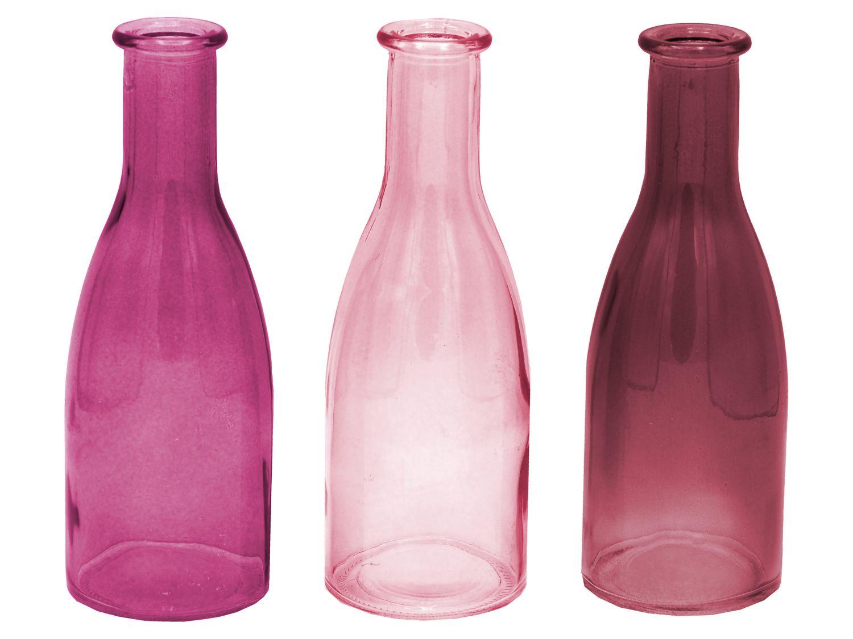 3 Vasen Blumenvase Glasflasche Rosa Mauve Pflaume Glas Tischdeko Glasvase Deko Hochzeit Kommunion
