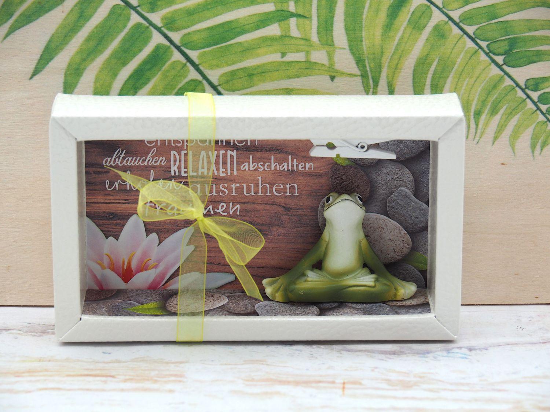Geldgeschenk Verpackung Yoga Frosch Gutschein Wellness Massage Energiefrosch Relax Geschenk