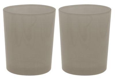 2 Teelichthalter Teelichtgläser Taupe Tischdeko Kommunion Konfirmation