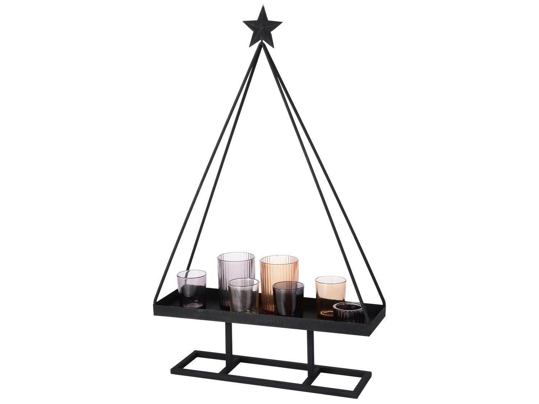 Teelichthalter Weihnachtsbaum Metall Schwarz mit Kerzengläsern Teelichtgläser Grau Braun Deko Weihnachten