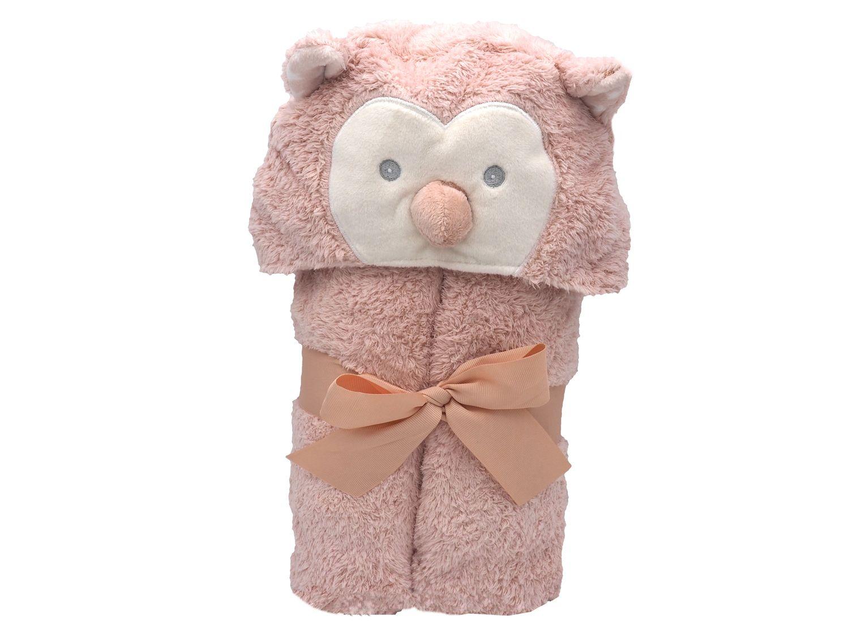 Baby Badehandtuch mit Kapuze Kapuzentuch mit Tier Eule Rosa Handtuch Badetuch Fleece