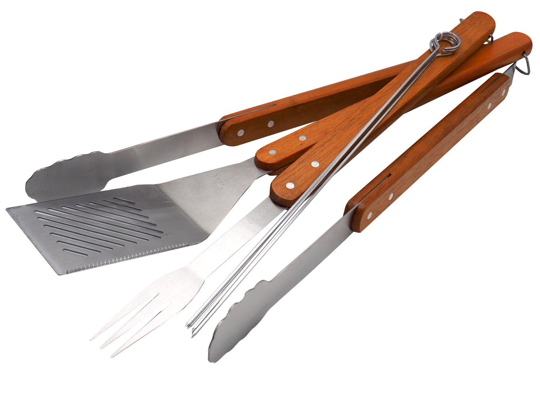 Grillbesteck Edelstahl Holz BBQ 7-teilig Grillzubehör Grillutensilien Grillzange Grillgabel Grillgutwender Holzgriff