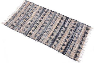 Teppich Gewebt Grau Braun Beige Blau 140x70cm Materialmix