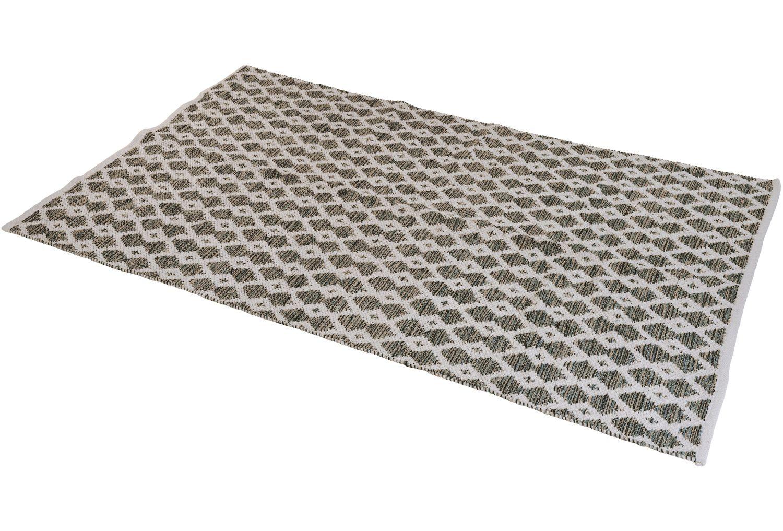 Teppich Gewebt Raute Braun Beige Grün 120x180cm Wendeteppich Baumwolle Läufer Rauten Muster