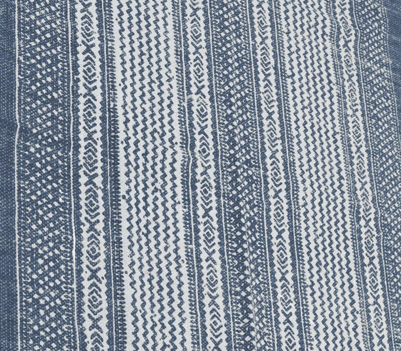 Teppich Musterteppich Blau Creme 120x180cm Baumwolle Fransenteppich Baumwollteppich Deko