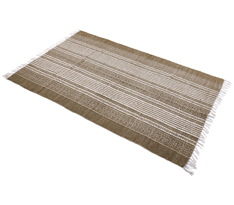 Teppich Musterteppich Braun Creme 120x180cm Baumwolle Fransenteppich Baumwollteppich Deko