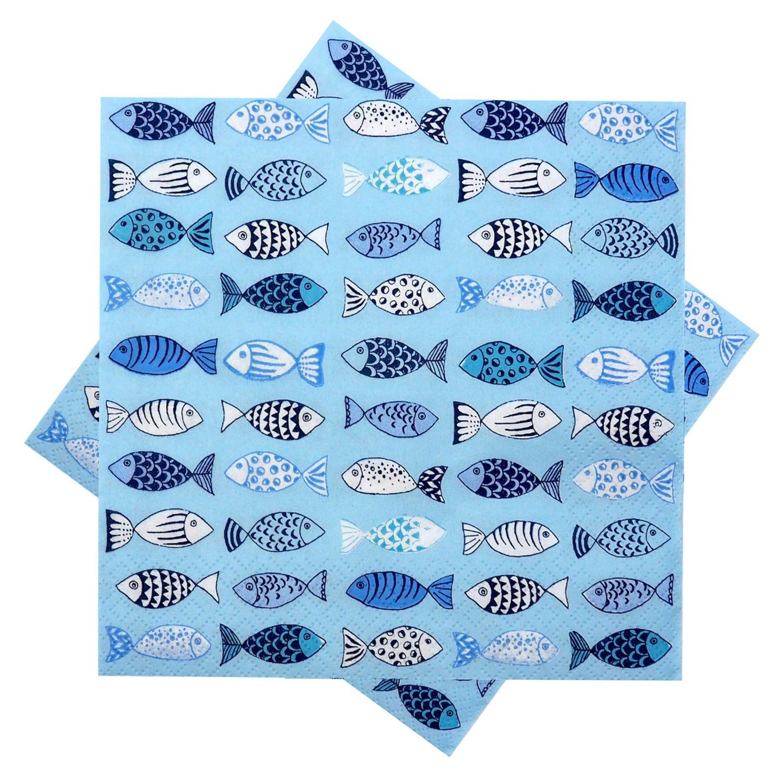 Servietten Fische Hellblau Blau Weiß Kommunion Konfirmation Taufe 20 Stück