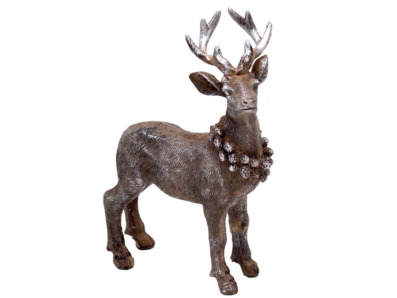 Hirsch dekofigur stehend braun silber weihnachten deko trends