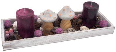 Tablett Herbst Herbstdeko Tischdeko Deko Kerze Pilze Pflaume Lila Grau Holz Natur