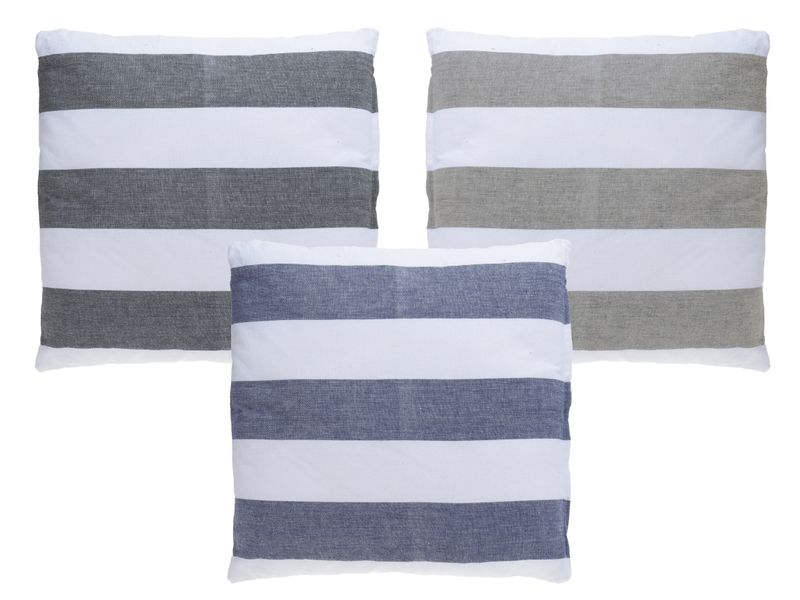 Kissen Dekokissen Streifen Weiß Grau Beige Blau 45x45 Gestreift Zierkissen Sofakissen Couchkissen