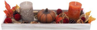 Tablett Herbst Herbstdeko Tischdeko Deko Kerze Kürbis Orange Braun Holz Natur
