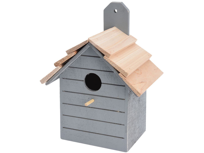 Vogelhaus Holz Grau Deko Garten Terrasse Nistkasten Vogelhäuschen