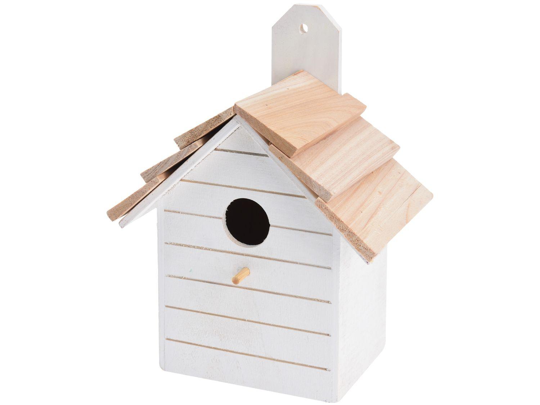 Vogelhaus Holz Weiß Deko Garten Terrasse Nistkasten Vogelhäuschen