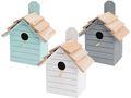Vogelhaus Holz Mint Weiß Grau Deko Garten Terrasse Nistkasten Vogelhäuschen 1