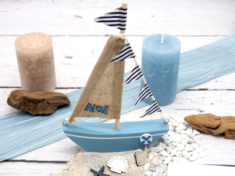 Deko Segelboot Holz Maritim Dekoschiff Tischdeko Urlaub Segeln Meer Geschenk
