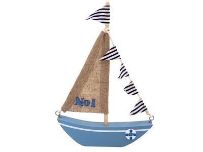 Schiff Segelboot Boot Holz Maritim Segeln Taufe Blau Deko