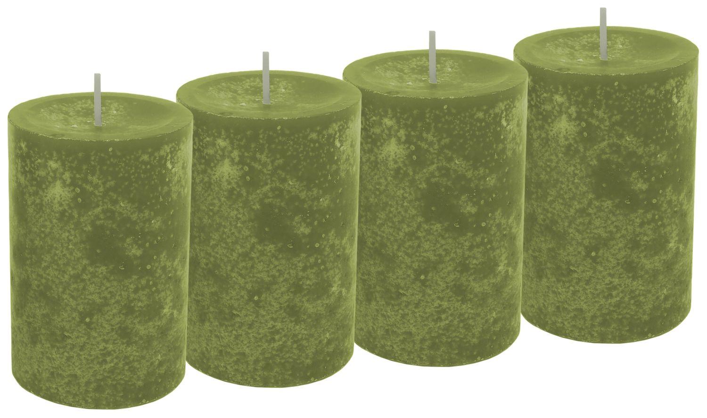 4 Stumpenkerzen Kerzen Grün Olive Tischdeko Deko Adventskranz Weihnachten Hochzeit Kommunion Konfirmation